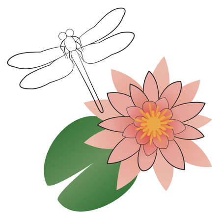 Stylized pink water lily with a leaf and a dragonfly. Top view of the nenuphar flower. Line art and flat design. Hand drawn vector illustration isolated on white background. For print and web.