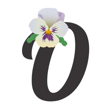 Black letter O with a single bud of Pansy flower and two green leaves. Floral alphabet, vector illustration. Delicate light purple petals. For decorating text, print and web.