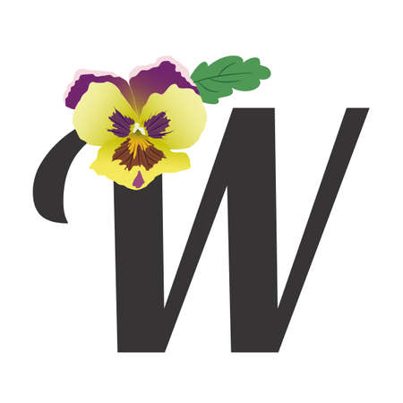 Pansy flower bud with a leaf paired with a black letter W. Vector, gradients of green-yellow and lilac. The symbol of spring and love. illustration. For text, monograms, congratulations, invitations.