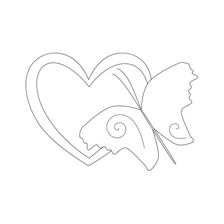 Heart and Butterfly, simple outline stencil. Black and white linear icon. The symbol of love and beauty. Design element for illustrations for Valentine's Day. Hand-drawn vector. For stencils, tattoo. Ilustracja