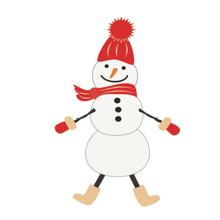 Cheerful snowman in a red cap with a ponpon, scarf, mittens, felt boots. Hand-drawn vector, flat style. Funny winter character, snow sculpture. Design element for childrens illustrations, prints.