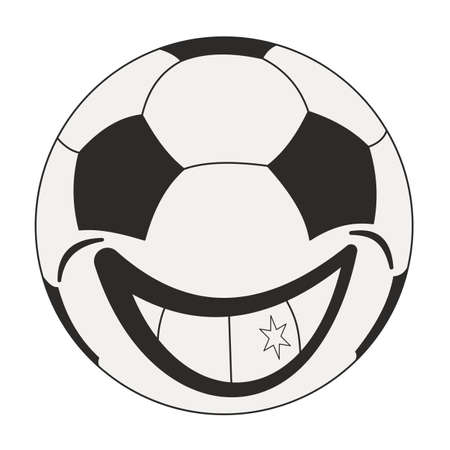 Single smiling cartoon soccer ball. Football icon, pinktogram. Round shape sports equipment. Hand-drawn vector, flat style. Cheeky, cheerful, positive character. For illustrations, print, internet.