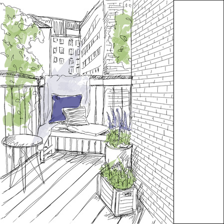 front porch: Sketch window with balcony Illustration
