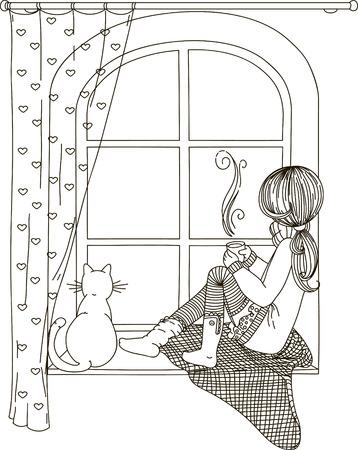 女の子は、熱いお茶やコーヒーのカップの手で猫と、窓の外見て窓辺に座っています。黒と白の図面、塗り絵。  イラスト・ベクター素材