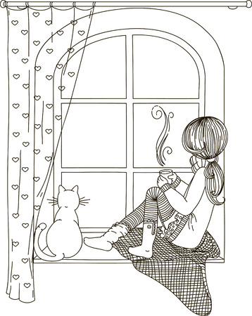 The girl is sitting on the windowsill looking out the window, with the cat in the hands of a cup of hot tea and coffee. Black and white drawing, coloring book. Иллюстрация
