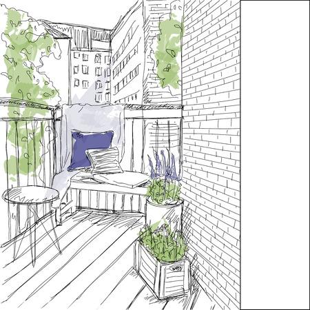 Sketch window with balcony Stock Illustratie