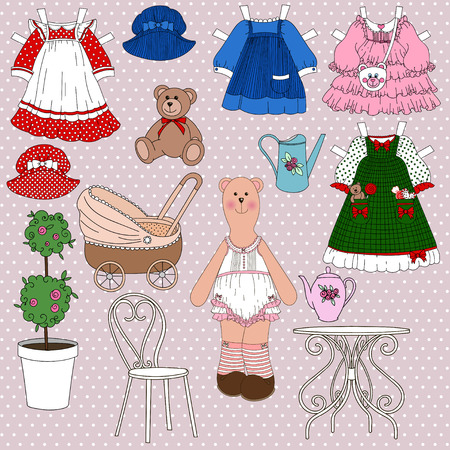 garden furniture: Set for childrens games. Cut paint. Bear in underwear with a set of dresses and hats. With a stroller, a watering can, bear, garden furniture. Stock Photo