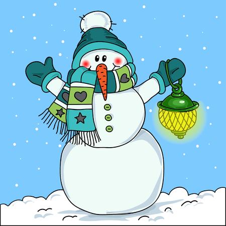snowman cartoon: Snowman with lights