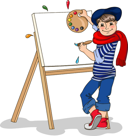 artist boy painting on canvas with art icons. character design.  - vector illustration