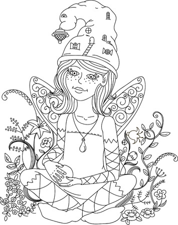 color pages: Beautiful fashion woman with flowers in the image of a fairy and elf , could be used for coloring book. Black and white.