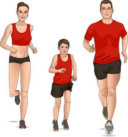 endurance: Vector illustration of a family run
