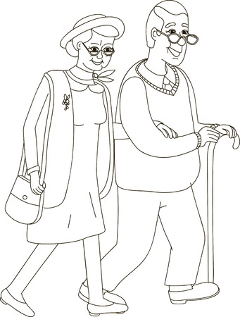 old couple walking: Senior lady and gentleman with silver hair walking together arm-in-arm. Old age couple. Flat style vector illustration isolated on white background. Illustration