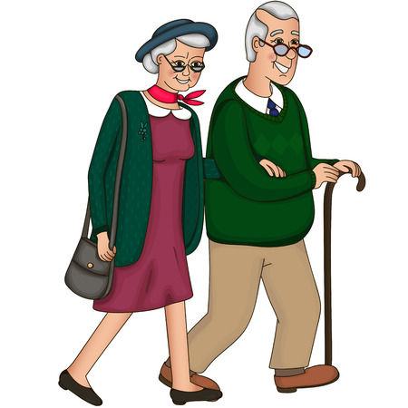 lasting: The old lady and a gentleman with silver hair, go together hand in hand. Elderly couple.