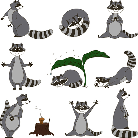 sneaking: Black and white set, cartoon raccoons. Vector. Illustration