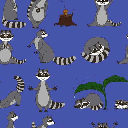 sneaking: Seamless pattern with cartoon raccoons.
