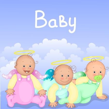 Tweelingen, drietallen. Card voor baby's te laten dopen.