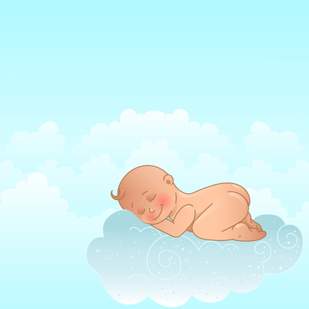 lying in bed: A smiling, cartoon baby, lying on a cloud, as a soft pillow. Illustration