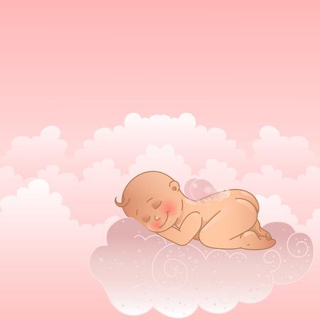 Alas de ángel en una nube. Chica bautismo