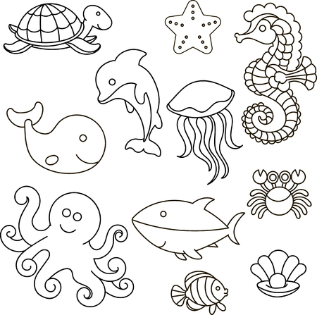 Vector illustration. Set of marine life.