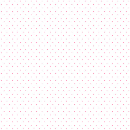 Seamless pattern of small, pink polka dots on a white background.