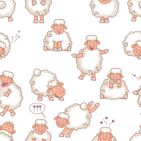 funny animals: animal sheep cartoon Illustration