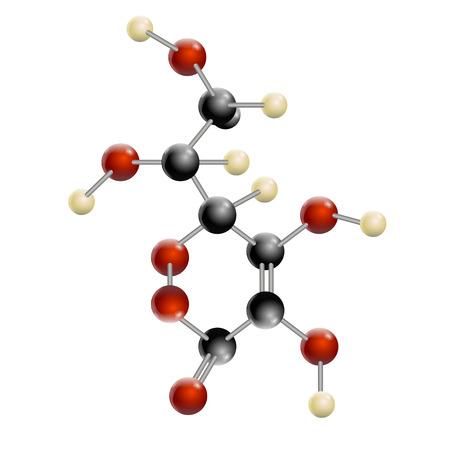アスコルビン酸、アスコルビン酸分子、構造化学式とモデル、ビタミン c、白い背景で隔離 2 d ・ 3 d のベクトル  イラスト・ベクター素材
