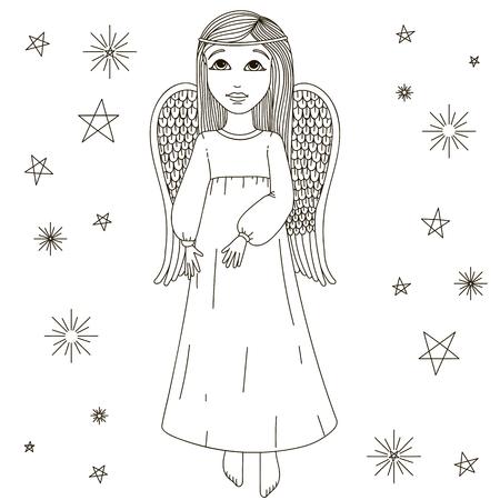 angel white: Cartoon angel and  white background. Illustration