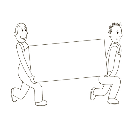 two men: vector illustration of two men carry a billboard Illustration
