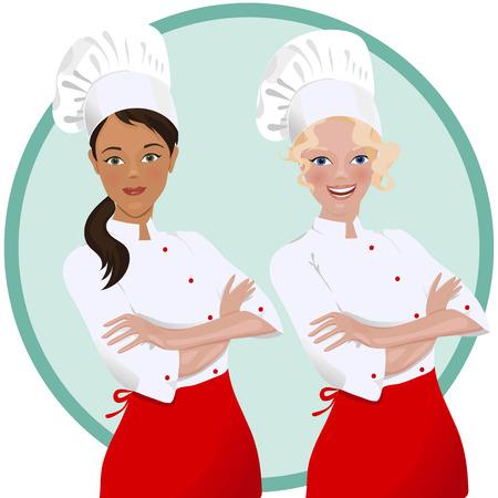Kobieta kucharz w mundurze.