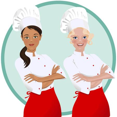 Cuoco unico femminile in uniforme.