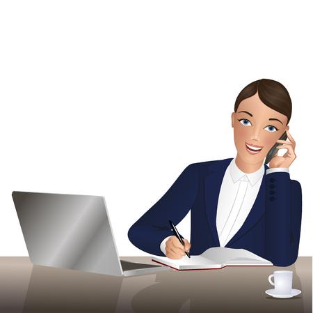 woman laptop: speaking on the phone. Illustration