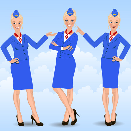 cabin attendant: cute cartoon stewardess holding airplane tickets