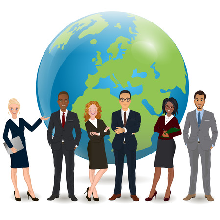 multi ethnic: Global multi ethnic team of successful businesspeople standing with confident look in front world earth globe background Illustration