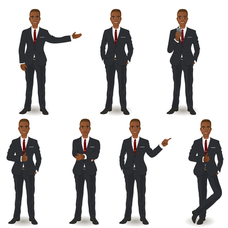 business suit: African American Business Men Illustration