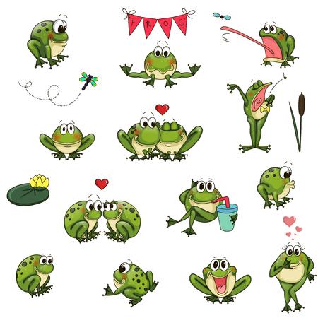 sleeps: Emotional cute frogs Cartoon character - vector set