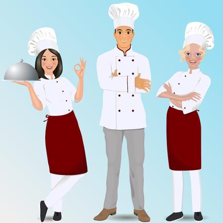 chefs profesionales jóvenes. chefs culinarios.