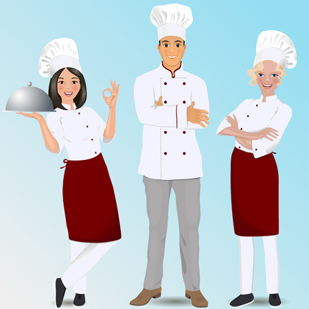 culinary skills: Young professional chefs. Culinary chefs. Illustration