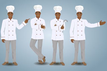 four objects: Four cooks in different poses. Vector illustration. Isolated objects.