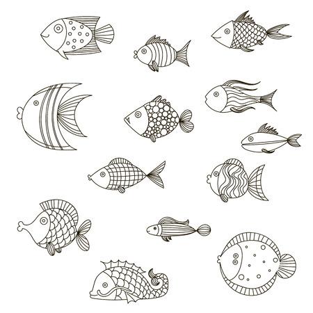 Cute fish vector illustration icons set.