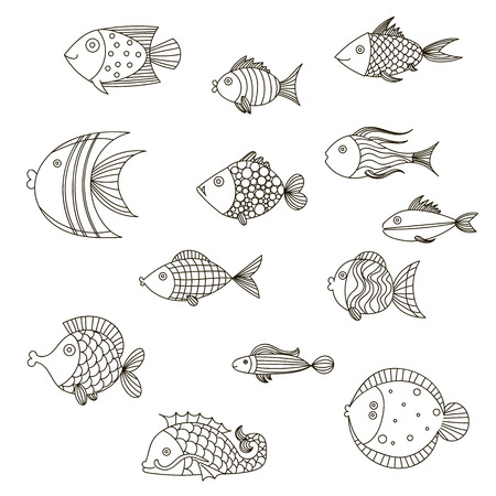 Cute fish vector illustration icons set.