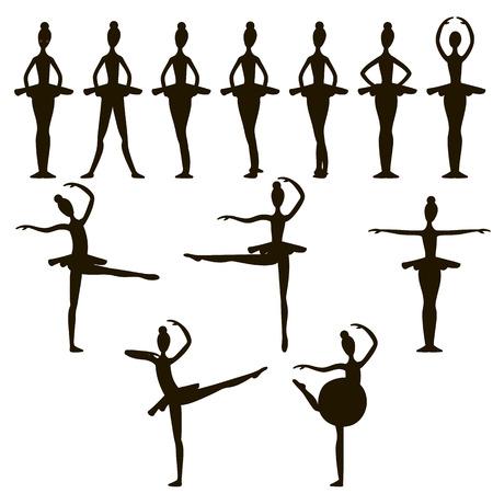 ballerina silhouette: Ballerina silhouette on white background