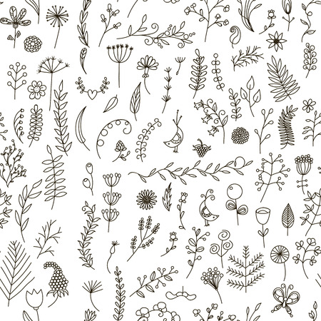 Floral black and white seamless pattern in doodle style