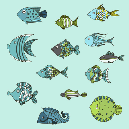 small group of objects: Cute fish vector illustration icons set.