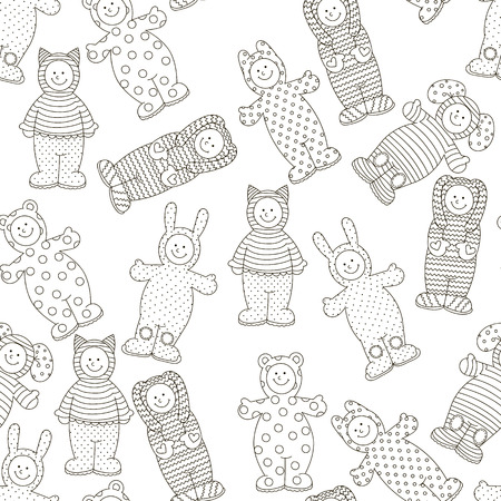 coverall: Pattern kids jumpsuits. Illustration