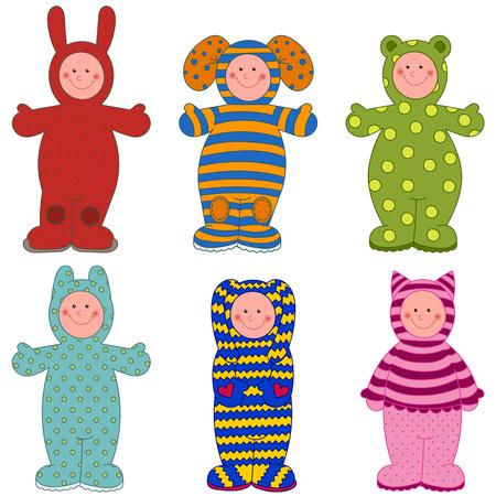 overol: Conjunto de niños en guardapolvos con un patrón. Vectores