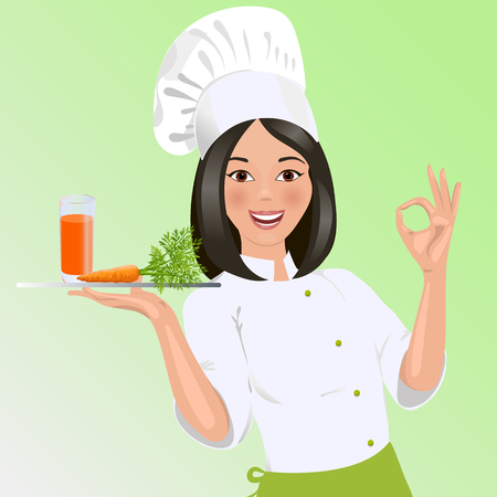 carrot juice: Cook, in, the, form, of, a, glass, carrot, juice, on, tray, shows, all, good, hand. Illustration
