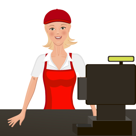 The cashier behind the counter. Isolated object. headpiece and apron is easy to clean.