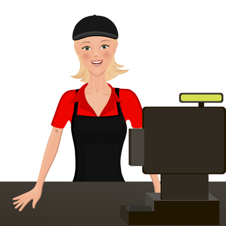 mart: The cashier behind the counter. Isolated object. headpiece and apron is easy to clean.