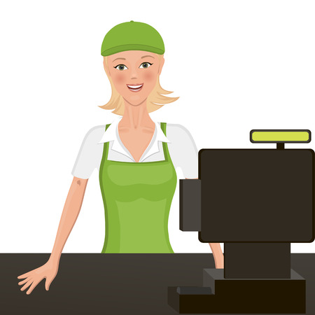 headpiece: The cashier behind the counter. Isolated object. headpiece and apron is easy to clean.