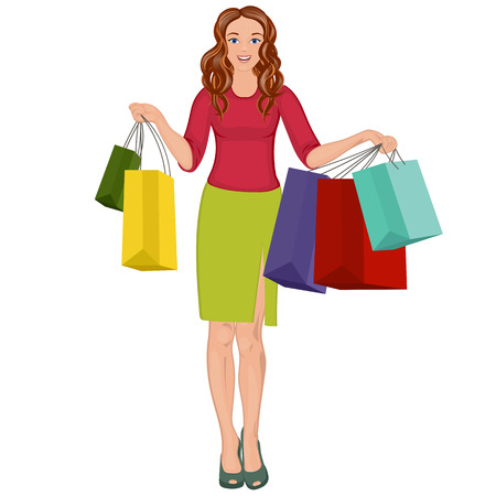 paperbag: Happy girl with shopping bags in shop. Shopper. Sales. Funny cartoon character. Vector illustration. Isolated on white background